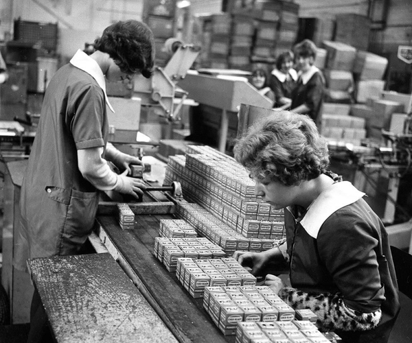 Ladies working on the great British brand Ever Ready production line formally located on Hinkshay Road near Telford Town Park.