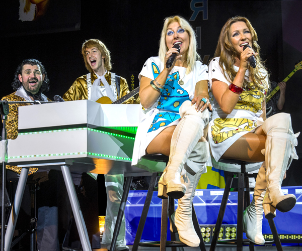 A photograph showing the members of Arrival, an ABBA tribute act