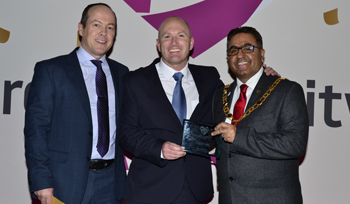 Picture of three people at the Telford Community Awards