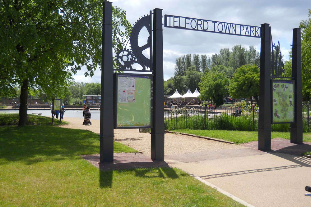 Picture of the gates of Telford Town Park