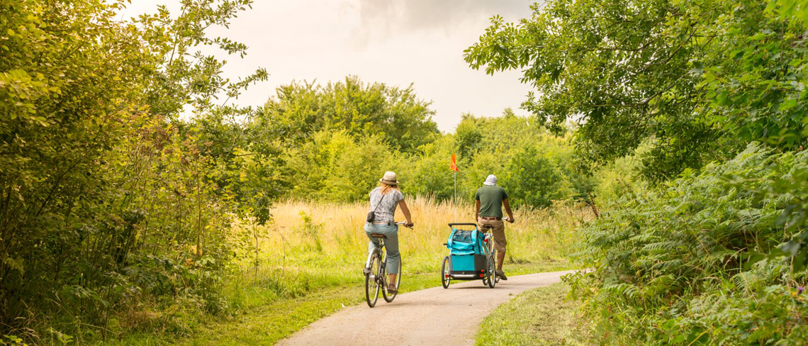 Picture of a couple riding their bikes in Telford Town Park